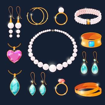 Роскошные драгоценности установлены. кольца с бриллиантами и другими украшениями.
