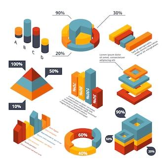 ビジネスインフォグラフィックのさまざまな等尺性要素。グラフィック図、立体チャート