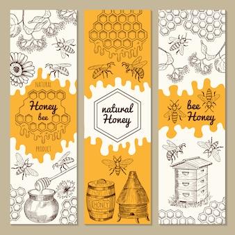 Баннеры с изображениями медовых изделий. пчела, соты. векторные иллюстрации сладкий мед натуральный баннер коллекция
