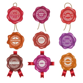 Сургучные марки с разными промо этикетками. набор векторных изображений