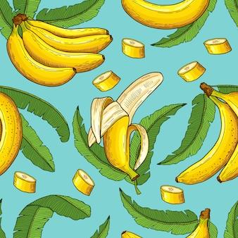バナナのシームレスパターン。トロピカルフードのベクトルイラスト