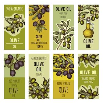 Набор наклеек для бутылок с оливковым маслом. векторный дизайн шаблона для премиум-продуктов