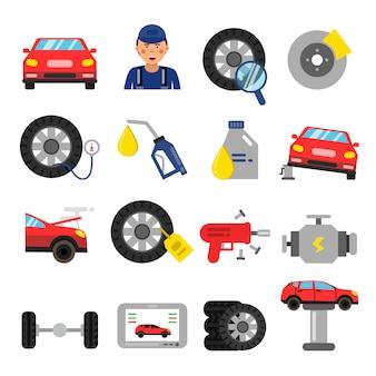 自動車部品車のホイールとタイヤのサービス。フラットスタイルのベクトル写真