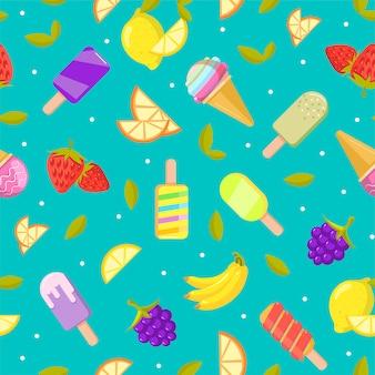 シームレスなアイスクリームのパターン。フルーツとアイスクリームのカラフルな漫画の背景