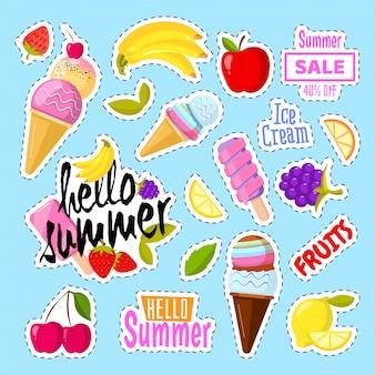 Набор милого мороженого и фруктов в виде ретро патчей