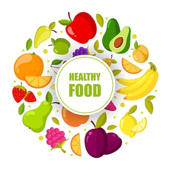 ベクトル有機フルーツフレームが分離されました。自然の健康食品イラストバナー