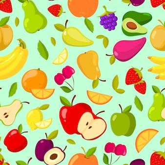 ベクターのシームレスな夏の果物のパターン。カラフルな漫画の背景