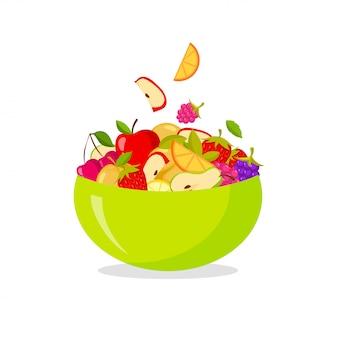 新鮮なフルーツサラダ。白い背景で隔離の健康的な食事のコンセプト