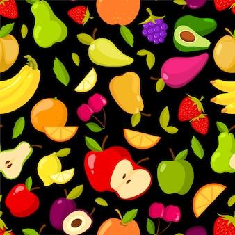 黒の背景にベクトルシームレスな夏のフルーツパターン
