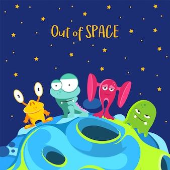 スペース不足です。漫画のスタイルのモンスターと宇宙船の背景