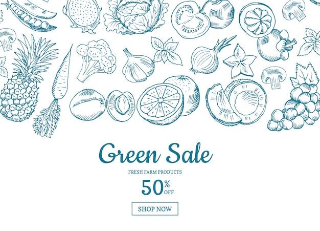 ベクトル手描きの果物と野菜の水平販売の背景。グリーンセールバナーイラスト