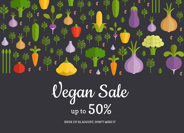 手描きの果物と野菜の水平販売の背景をベクトルします。菜食主義者用バナー野菜販売イラスト