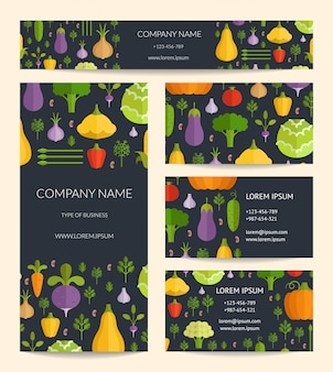 Векторные шаблоны визитной карточки, брошюры и баннера идентичности установлены с плоскими овощами.
