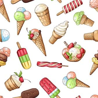 チョコレートアイスクリームと甘い食べ物のデザート、チョコレートとバニラアイスクリームのシームレスなパターン。ベクトルイラスト