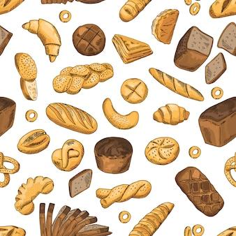 パン、ベーグル、バゲット、その他のベーカリー食品。レトロなスタイルでシームレスなパターンベクトル。小麦パンのシームレスなパターン背景イラスト