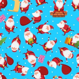 さまざまなアクションでサンタとクリスマスのシームレスパターン。サンタクロースの図とクリスマスのパターン