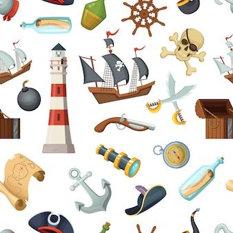 さまざまな海賊アイテムと海洋のシームレスパターン。ベクトルの海賊、旅行、ステアリングホイール、ラム酒の瓶、アンカー、クロス刀の図