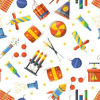 花火ツール、ベクトルパターン爆竹と打ち上げ花火、爆弾とダイナマイトのイラストとのシームレスなパターン