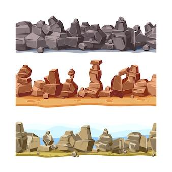 Камни и скалы природы с мультфильм зеленая трава. вектор камень и рок набор иллюстраций на белом фоне