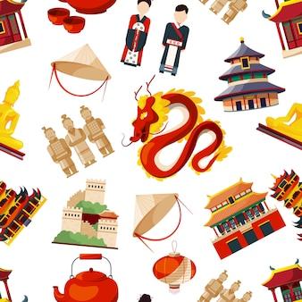 伝統的な中国文化の要素を持つシームレスパターン。ベクトルアジア中国の伝統的なドラゴンと建物の図