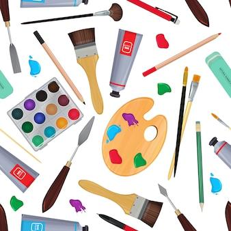 Оборудование для художников. разные канцтовары. бесшовные шаблон канцелярских принадлежностей для рисования карандашом и краской. векторная иллюстрация