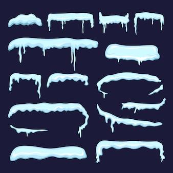 Зимнее украшение из снежных шапок и замерзших сосулек. векторный снежный зимний дизайн на рождество стиль иллюстрации