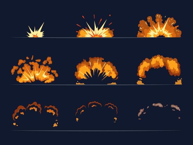 Ключевые кадры взрыва бомбы. мультфильм иллюстрация в векторном стиле. взрыв бомбы и мультфильм взрыв взрыв динамит вектор