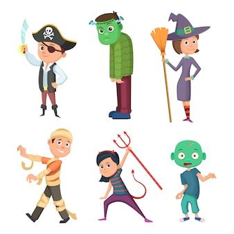 子供のためのかわいいと怖いハロウィーンの衣装。ゾンビ、海賊、悪魔など。漫画のスタイルのベクトルコレクション