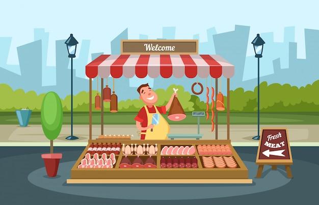 生鮮食品が並ぶ地元の市場。漫画のスタイルのベクトルイラスト
