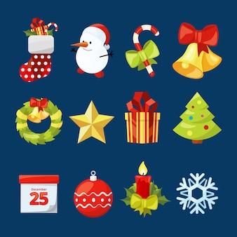 クリスマスのアイコンのベクトルコレクション。お祝い用イラストセット