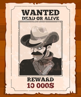 古い羊皮紙に西部のプラカード。野生の盗賊を募集しています。ベクトルポスター