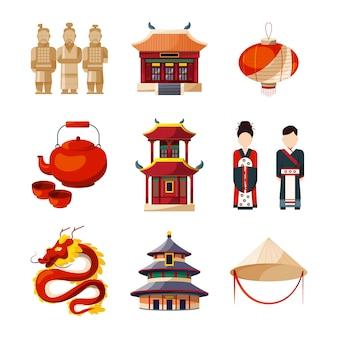文化のアイコンを設定します。伝統的な中国の要素漫画のスタイルのベクトル図