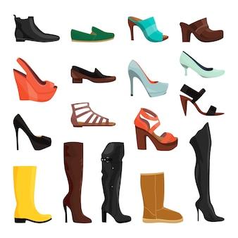 Женская обувь в разных стилях. векторные иллюстрации комплект женской обуви элегантность и гламур