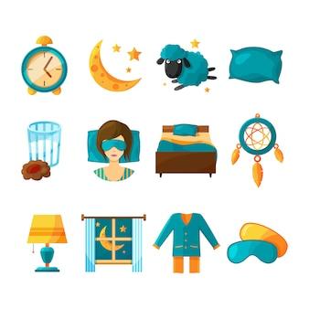眠っているの概念的なアイコンセット。健康的な睡眠のベクトルシンボル