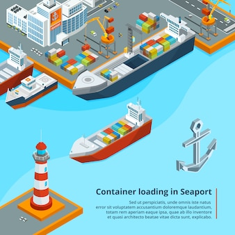 コンテナと乾いた貨物船。海事産業の仕事等角投影図