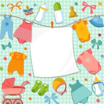スクラップブックの生まれたばかりの赤ちゃんのためのかわいいフレーム