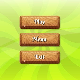 ゲームデザインのテキストを持つ漫画スタイルの木製ボタン