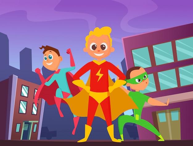 アクションポーズでスーパーヒーローの子供たちと都市の背景。