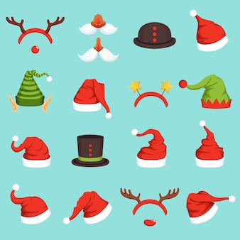 さまざまなクリスマスキャラクターの帽子
