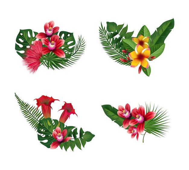 熱帯のヤシの葉とエキゾチックな花