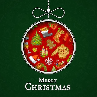 サンタと手描き色クリスマス要素