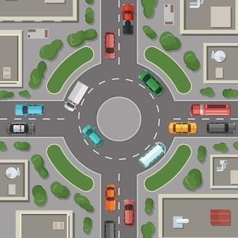 都市の建物、道路、車の上から見た図