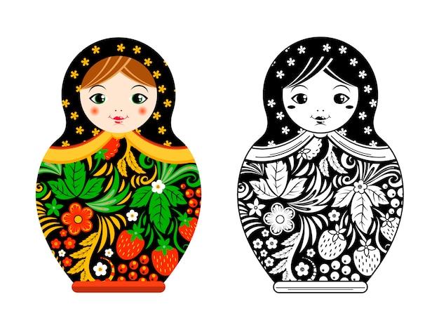 レトロなロシア人形。マトリョーシカはホフロマ風に描かれています。