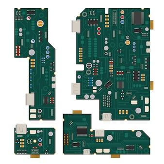 電子回路ダイオードと他の部品を備えたコンピューターのマザーボード