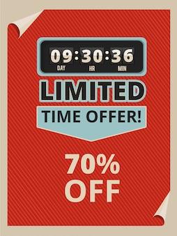 Рекламируйте плакат с часами обратного отсчета и текстом о продажах.