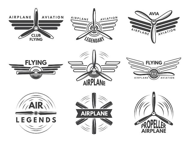 軍用航空のロゴにラベルを付けます。モノクロスタイルのパイロットのシンボル