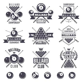 ビリヤードクラブのロゴセット