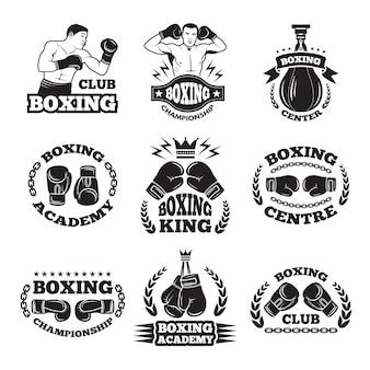 ボクシングクラブ、または格闘技のラベル。モノクロ