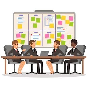 ビジネスチームは作業し、スクラムボード上でいくつかの計画を立てる
