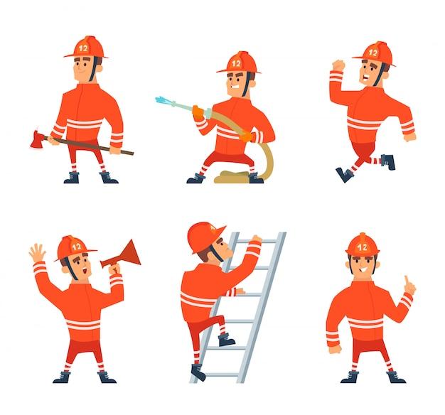 Пожарный на работе. различные позы действий